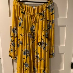 Long-Sleeve Yellow Floral Print Dress